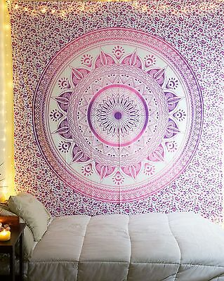 Queen Indian Mandala Bedspread Tapestry Wall Hanging Hippie bohemian Decor Throw