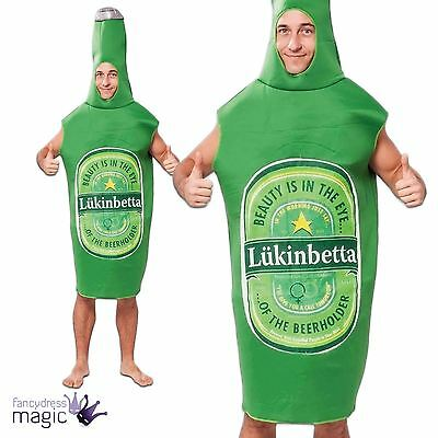*Mens Rude Green Lager Beer Bottle Lukinbetta Stag Fancy Dress Costume Outfit*