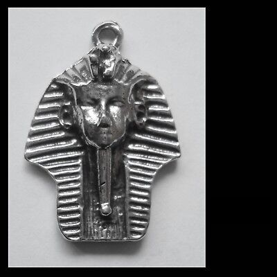PEWTER CHARM #1298 KING TUT EGYPTIAN PENDANT (34mm x 24mm) 1 bail
