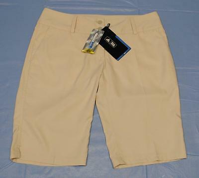 New Ladies Size 6 Adidas ClimaLite 100% polyester bermuda golf shorts Beige
