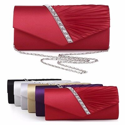 Women Party Prom Bridal Evening Stripe Diamante Long Clutch Bag Purse Handbag