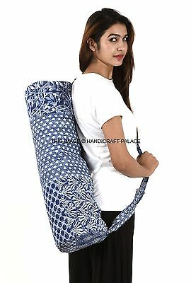 Indigo Blue Patchwork Kantha Yoga Mat Carry Bag Mesh Center Adjustable Strap