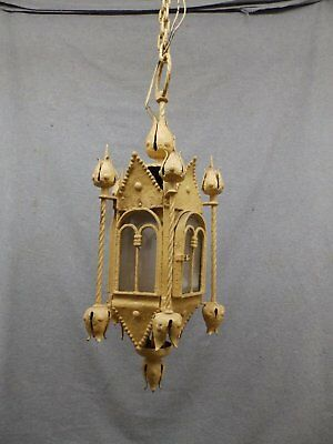 Antique Wrought Iron Victorian Gothic Pendant Ceiling Light Fixture Vtg 723-16