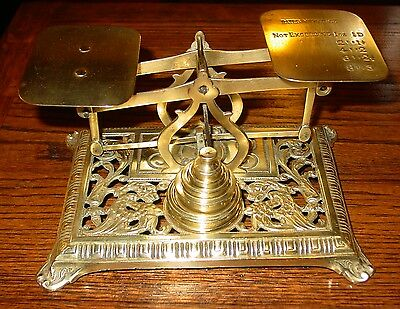 Antique Brass letter postal desk scale with Griffins & weights-----15296