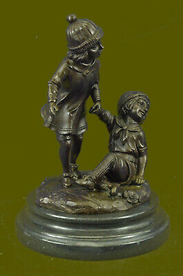 Bronze Group of Two Children Statue Signed Art Deco Sculpture Figure Figurine