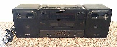 Vintage Sony CFS-W430 Boombox Portable Dual Cassette Player AM/FM Radio TESTED!!