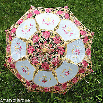 Handmade Mid-Size Cotton & Lace Parasol Umbrella Wedding Decor DIAMETER 20.5""