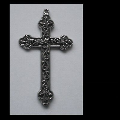 PEWTER CHARM #1329 FANCY DECORATED CROSS (52mm x 29mm) 1 bail