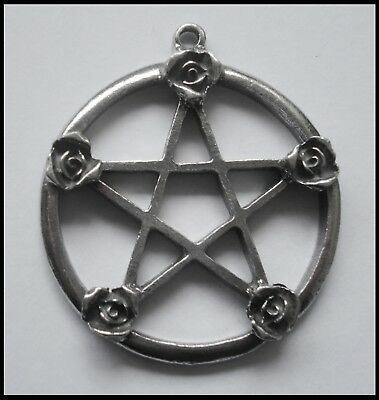 PEWTER CHARM #1345 PENTAGRAM with ROSES (51mm x 44mm) 1 bail