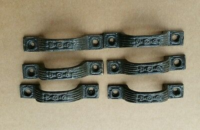 6 Mini DRAWER PULLS  HANDLES EMBOSSED CAST IRON  VICTORIAN STYLE (#4 )