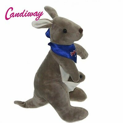Blue Australia flag scarf gray Mother Kangaroo and baby stuffed animal soft toy
