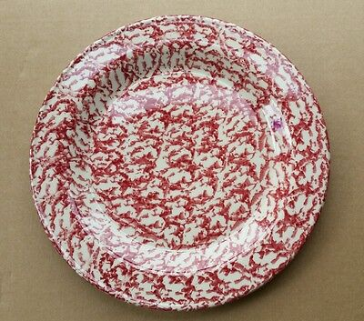 Henn Pottery 10 Inch Dinner Luncheon Plate Cranberry Red Spongewear (#6)