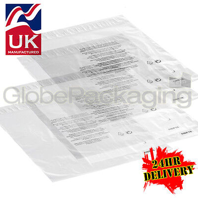 """2000 x 12x16"""" CLEAR RE-PACKING Peel & Seal Mailing Poly Bags 300x400mm+40mm Lip"""