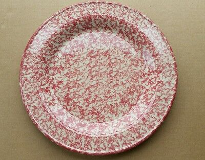 Henn Pottery 10 Inch Dinner Luncheon Plate Cranberry Red Spongewear (#14)