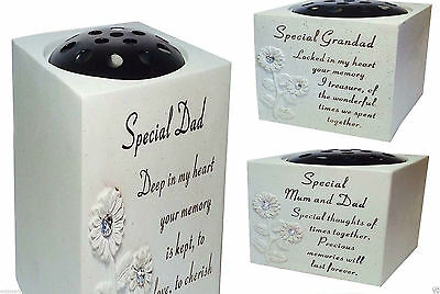 New diamond grave Memorial Flower Holder Vase Stone Plaque Sentimental Pots