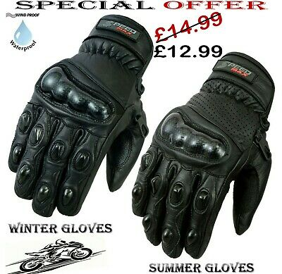 Mens Carbon Knuckle Short Summer Perforated Motorbike Motorcycle Leather Gloves