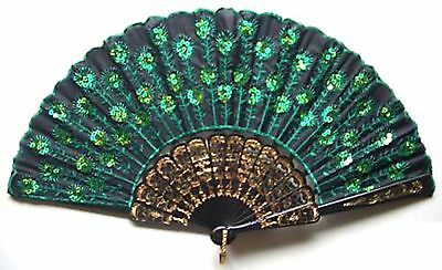 Chinese Silk Green Bead Embroidered Folding Wedding Party Hand Fan