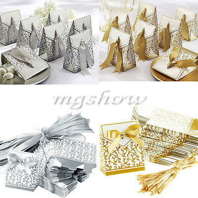 50/100pcs Gold/ Silver Bridal Ribbons Wedding Party Favor Gift  Candy Boxes