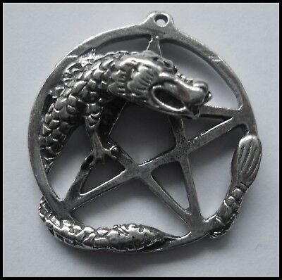 PEWTER CHARM #1372 PENTAGRAM with DRAGON (33mm x 31mm) 1 bail