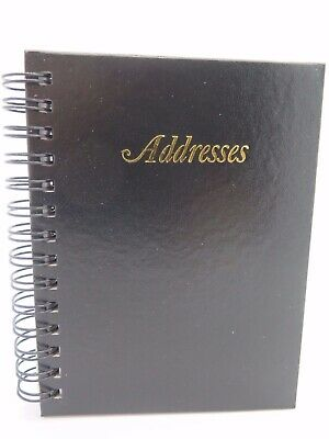 1 x Cumberland Black Address Book Leathergrain Spiral 122mm x 95mm 519103 *