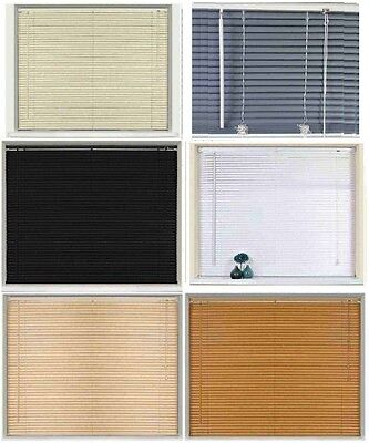 Window Blinds Easy fit PVC Venetian Blinds Wood Effect Trimable Home Office New
