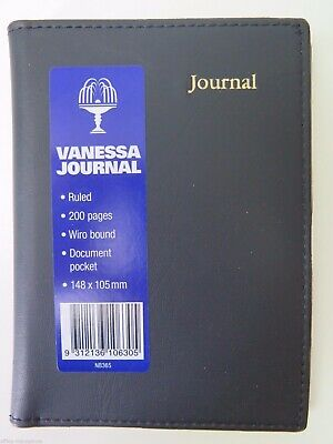A6 BLACK  Vanessa Journal Lined 200P 210 x 148mm Collins NB365