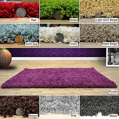 New Modern Small Large Thick 5cm Pile Soft Plain Cheap Shaggy Area Rug Clearance
