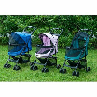 Happy Trails NO-ZIP Pet Stroller by Pet Gear in Emerald,Sapphire or Pink Diamond
