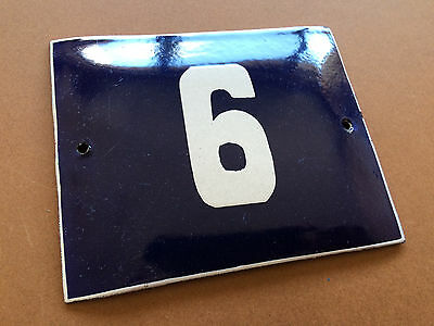 ANTIQUE VINTAGE FRENCH ENAMEL SIGN HOUSE NUMBER 6 or 9 DOOR GATE BLUE 1950's