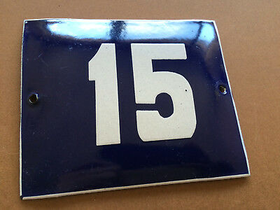 ANTIQUE VINTAGE FRENCH ENAMEL SIGN HOUSE NUMBER 15 DOOR GATE BLUE 1950's