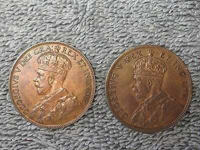 A Pair Of Very Nice Canadian Large Cents-1911 & 1920 & Free Shipping.