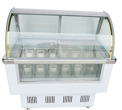 New Commercial 12 PAN Ice Cream Showcase Display Case Dipping Cabinet Freezer CA