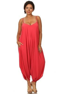 aa9912b394e6 New Women s Plus Size Coral Harem Jumpsuit Romper Sizes 1X 2X 3X 4X MADE USA