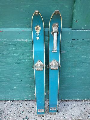 """VINTAGE Set 36"""" Long Wooden Skis with Light  Blue Finish with Metal Bindings"""