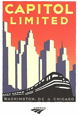 """Amtrak Michael Schwab Collector Poster Capitol Limited Train 24""""x18"""""""