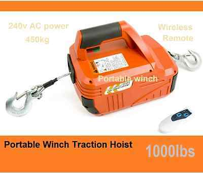 New 450kg 1000lbsTraction Block Portable Winch Traction Hoist + Remote Control