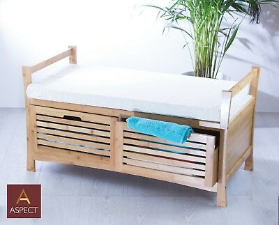Groovy Kendal Wooden Storage Bench With Seat Cushion Bamboo 2 Gamerscity Chair Design For Home Gamerscityorg