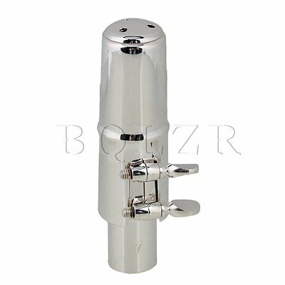 E-flat Alto Sax Nickel-plated Mouthpiece with Cap Ligature #7 silver
