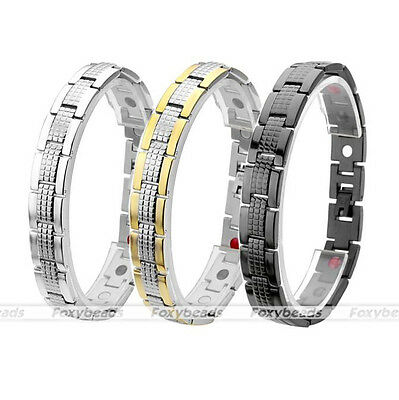 Men's Steel 4 in 1 Germanium Magnetic Therapy Negative Iron Health Care Bracelet
