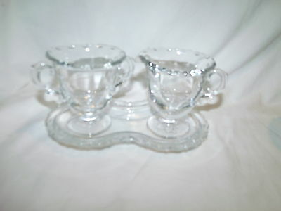 Vtg Fostoria Glass USA Crystal Clear Century  Set Creamer Sugar Underplate USA