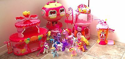 Huge My Little Pony Playset Lot 11 Ponies Gumball Balloon House Ice Cream Shake