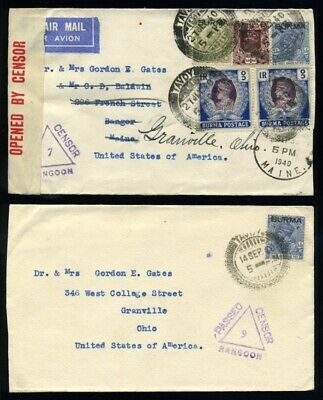 Burma Ww2 Censor Covers Tavoy Usa