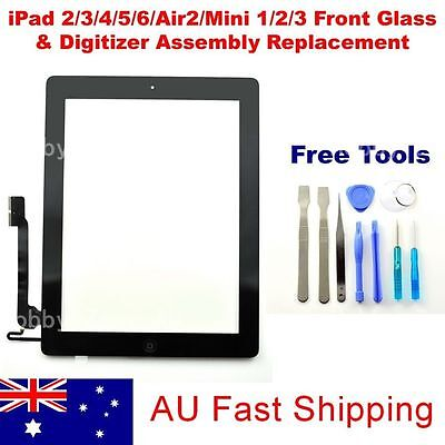 iPad 2/3/4/5/Air2/Mini1/2/3 Digitizer Front Touch Screen Glass Replacement+Tools