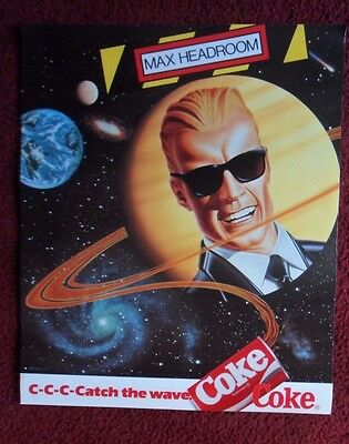 Classic Max Headroom Coke Coca-Cola Poster ~ Catch the Wave Space Planets Galaxy
