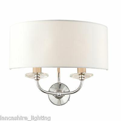 Endon 60180 Nixon Double Wall Light Bright Nickel Plate/Crystal Glass/Vintage