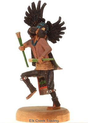 """8 1/4"""" TALL GENUINE HOPI INDIAN HAND~Carved The CROW Dancer by: Nate Jacob"""