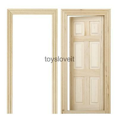 6-Panel Interior Wooden Door Frame Dolls House Miniature DIY Accessory 12th