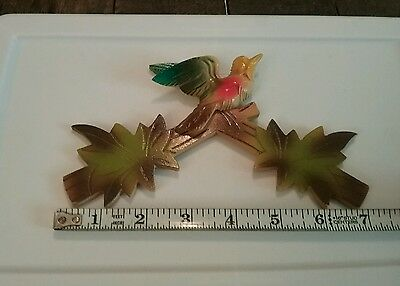 Vintage Cuckoo Clock Parts Bird Wood 50s 60s Painted