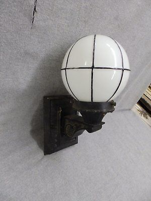 Small Antique Cast Iron Exterior Sconce Black Lined Milk Glass Globe Vtg 726-16