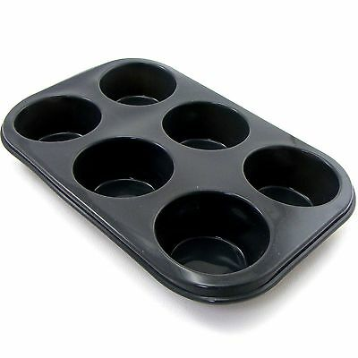 6 Large Hole ~SILICONE MUFFIN/BUN TRAY~ Non Stick Baking Cupcake Cake Cup Tray